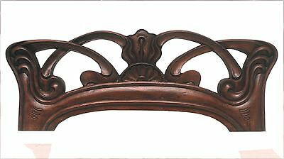 Superb Art Nouveau Chair Panel Component Wood Carved