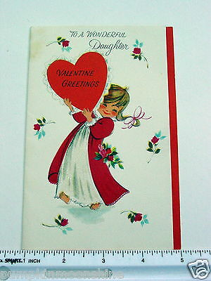#D949- Vintage Valentine's Day Greeting Card Sweet Girl Holding Red Heart