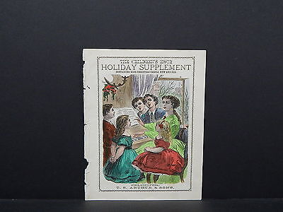 Antique Engraving, Children, Hand Colored 19th Century S2#03 The Children's Hour