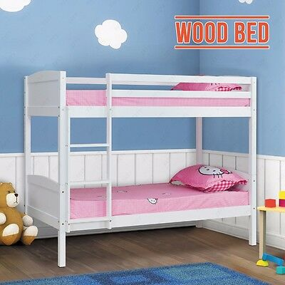 2×3FT Single Size White Solid Pine Bunk Bed Wood Wooden Frame Bedroom Furniture