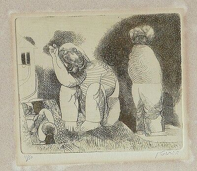 David Gerstein: Man & Woman 1970s / Jewish Israeli S/Etching / Modern Art