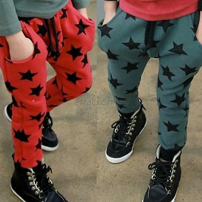Kids Boy Girl Star Pattern Harem Pants Children Joggers Sport Casual Trousers