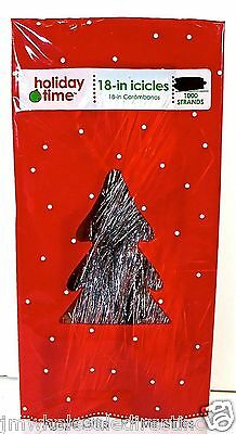 "New ! Holiday Time Christmas Tree Tinsel Icicles,1000 Strands,18""long, Silver"