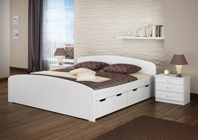 w bett doppelbett weiss 200x200 kiefer massiv. Black Bedroom Furniture Sets. Home Design Ideas