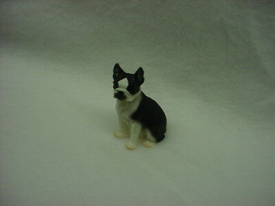 BOSTON TERRIER puppy TiNY DOG Figurine HAND PAINTED MINIATURE Collectible MINI