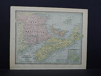 Vintage Map 1885 George Cram One Double Sided Map S2#11 Nova Scotia and Alaska