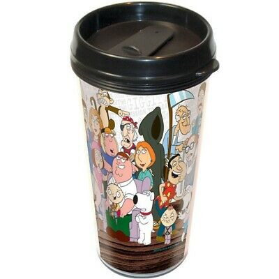 The Family Guy Cast Wrap-A-Round Art Plastic Travel Mug, NEW UNUSED