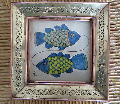 VINTAGE HAND PAINTED MEXICAN TILE in BRASS & COPPER FRAME signed CB MEXICO