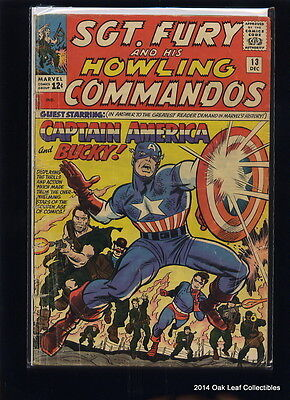 Sgt. Fury #13 Marvel Comic Book 1963 1st series Captain American & Bucky Appears