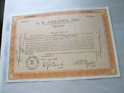 """1946 """"u. S. Airlines, Inc"""" Stock Certificate, Florida, No. C11385, 100 Shares"""