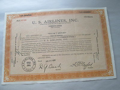 """1946 """"u. S. Airlines, Inc"""" Stock Certificate, Florida, No. C11386, 100 Shares"""