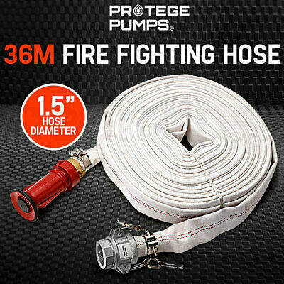 "PROTEGE Fire Fighting Hose - 36m 1.5"" Lay Flat Canvas Camlock Adjustable Nozzle"