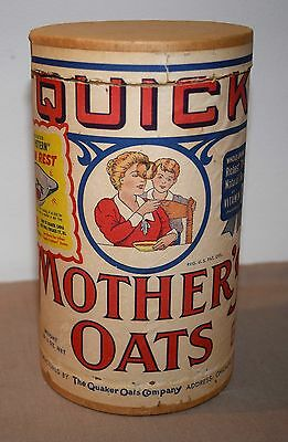 Vtg Quick Mothers Oats Cardboard Cannister 1 Lb 4 Oz The Quaker Oats Company