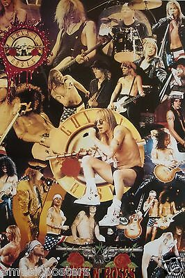 "GUNS 'N' ROSES ""COLLAGE OF CLASSIC CONCERT SHOTS"" ASIAN POSTER - Axl Rose, Slash"