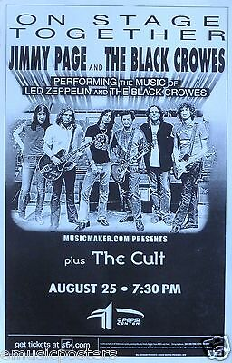 JIMMY PAGE/BLACK CROWES/THE CULT 2000 DENVER CONCERT TOUR POSTER -Group On Stage
