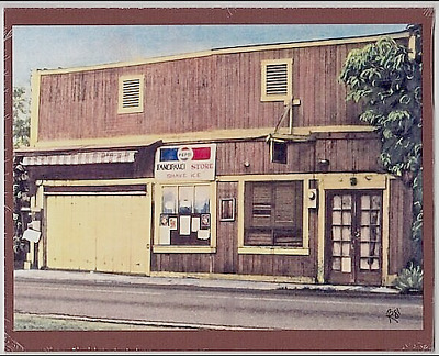 "Pancipanci Store Haleiwa Giclee F/hand Colored Original Photo On 8X10"" Brn Matt"