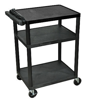 "Luxor 34"" Black AV Cart 3 Shelf Presentation Station, LP34E-B New"
