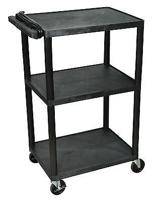 Luxor 42-Inch Three Shelf AV Cart with Three Outlets and Cord, LP42E-B Black New