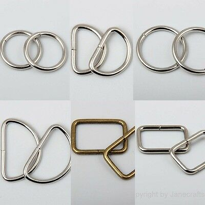 "50x 7/8""-1 1/2"" Metal D Ring O Ring Square Ring Dee Ring Webbing Strapping Belt"