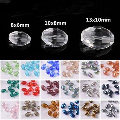 Rugby Oval 6mm/8mm/10mm Faceted Crystal Glass Charm Loose Spacer Beads Wholesale