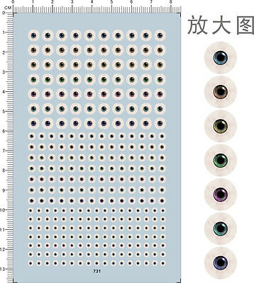Different Scale Color Type Eyes Ball for Figures Model Kit Water Slide Decal