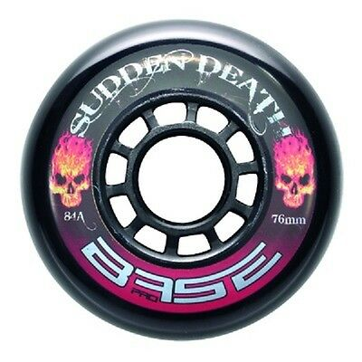 "4 Base Inline Hockey Rollen ""Sudden Death"" 76mm, Härte: 84A. schwarz."