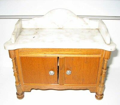 Antique German Schneegas miniature doll house marble sideboard or washstand