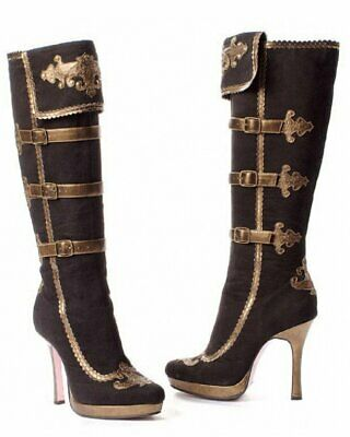 S39 Leg Avenue Anna Black Gold Suede Knee High Heel Pirate Halloween Shoes Boots