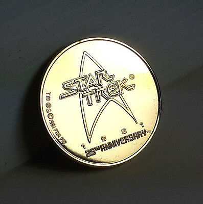 Star Trek 25th Anniversary Gold Plated Coin Medal QVC Exclusive STJW-64-C
