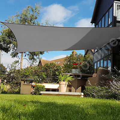5m Sun Shade Sail Garden Canopy Awning 98% UV Block Square Anthracite New