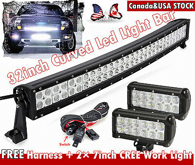 32inch Curved LED Light Bar Combo + 2× 7inch CREE Flood Work Lamp Offroad SUV 30