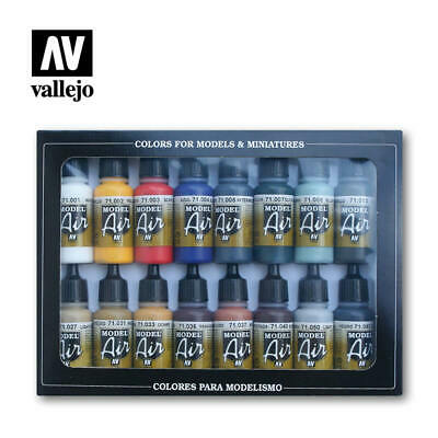 AIRBRUSH PAINTS - VALLEJO MODEL AIR BASIC COLOR KIT - 16 x 17ml BOTTLES - 71.178