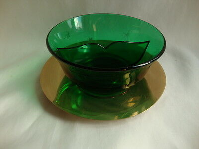 Paden City  Emerald-Glo Glass 2 Part Relish Bowl With Tray