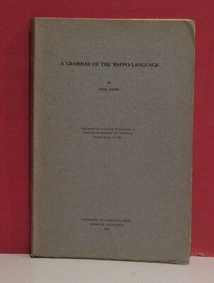 A Grammar of the Wappo Language by Paul Radin - 1929 - Native American
