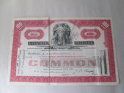 """1936 """"continental Securities Corporation"""" Stock Certificate, #nc/x600, 100 Share"""