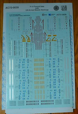 Microscale Decal #AC72-0039 Aircraft F-14 Data w/UN-Armed Missile Markings
