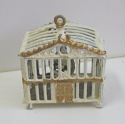 Antique Miniature Doll House white gilt painted pewter bird cage
