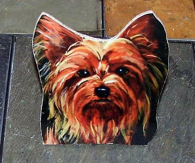 "Yorkshire Terrier Yorkie Dog Hand Made Painted Wood Shelf Topper 5""- 6"" Gift"