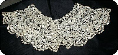 ORNATE Antique VICTORIAN STYLE  LACE COLLAR  VINTAGE WHITE  #4