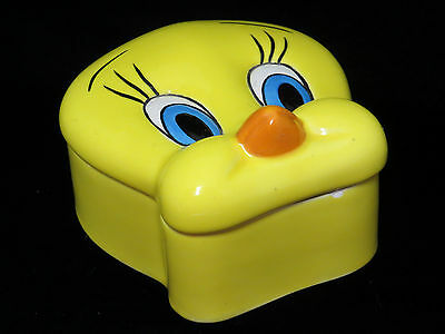 Looney Tunes Tweety Bird Covered Trinket Box Ceramic Warner Bros Tiny Chip Rim