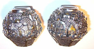 Pair Judaica 925 Sterling Silver Plate Candle Holders Shabbat Jerusalem Israel