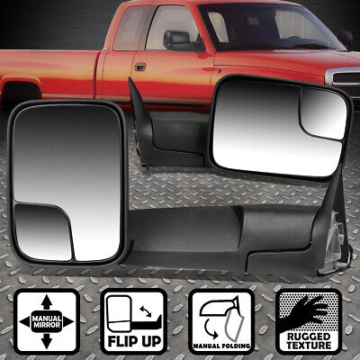 90 ADJUSTABLE FOLDING REAR VIEW TOWING SIDE MIRROR FOR 02-09 DODGE RAM 1500-3500