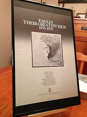 "Big 11X17 Framed The Eagles ""Greatest Hits 1971-75"" Lp Album Cd Promo Ad + Bonus"