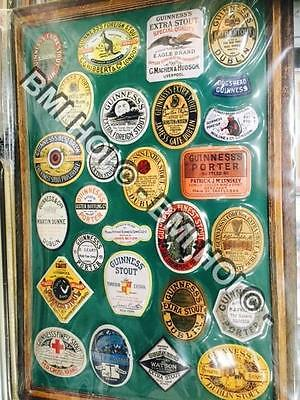 "Guinness Labels thru the ages Photo's on Metal sign 12"" x 8"" inches"