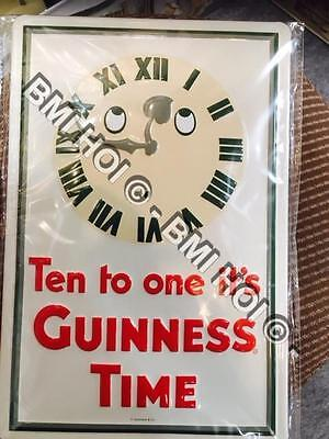 "Ten to one it's Guinness Time Humorous Metal sign 12"" x 8"" inches Guinness Clock"