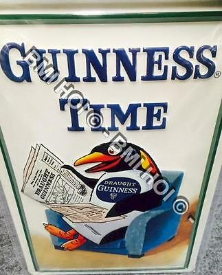 "Guinness Time Penguin on Metal sign 12"" x 8"" inches - classic old advert"