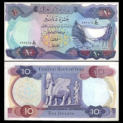 Iraq 10 Dinar 1973 Unc P.65 Large Banknote