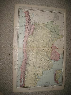 Antique 1898 Argentina Chile Paraguay Uruguay Patagonia South America Map Fine N