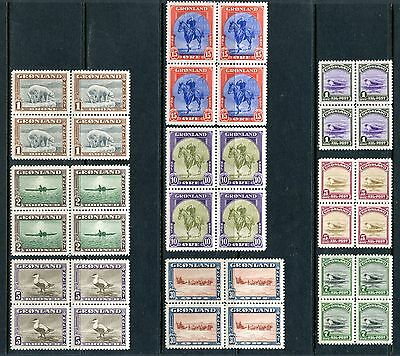 Greenland  Scott#10/18 Facit#10/18 Set Of Blocks Of Four  Mint Nh Full Og