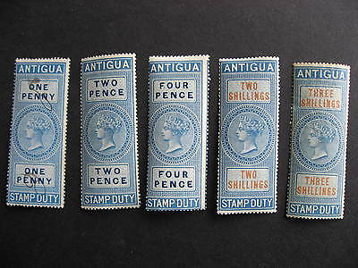 ANTIGUA 5 nice old revenue stamps here,check them out!